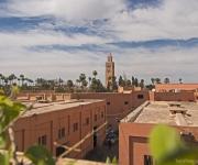 Uitzicht op Marrakech vanaf ons lunch plekje