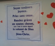 Ter afsluiting: een poster in de kerk van Marrakesh