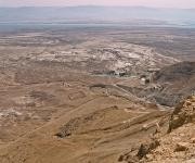 Zicht vanaf Masada, achtergrond de Dode Zee